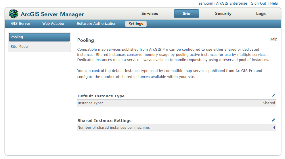 The Pooling page in Manager