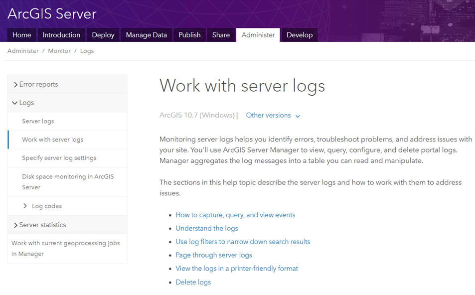 ArcGIS Server documentation screenshot