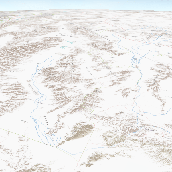 Perspective view map with terrain basemap