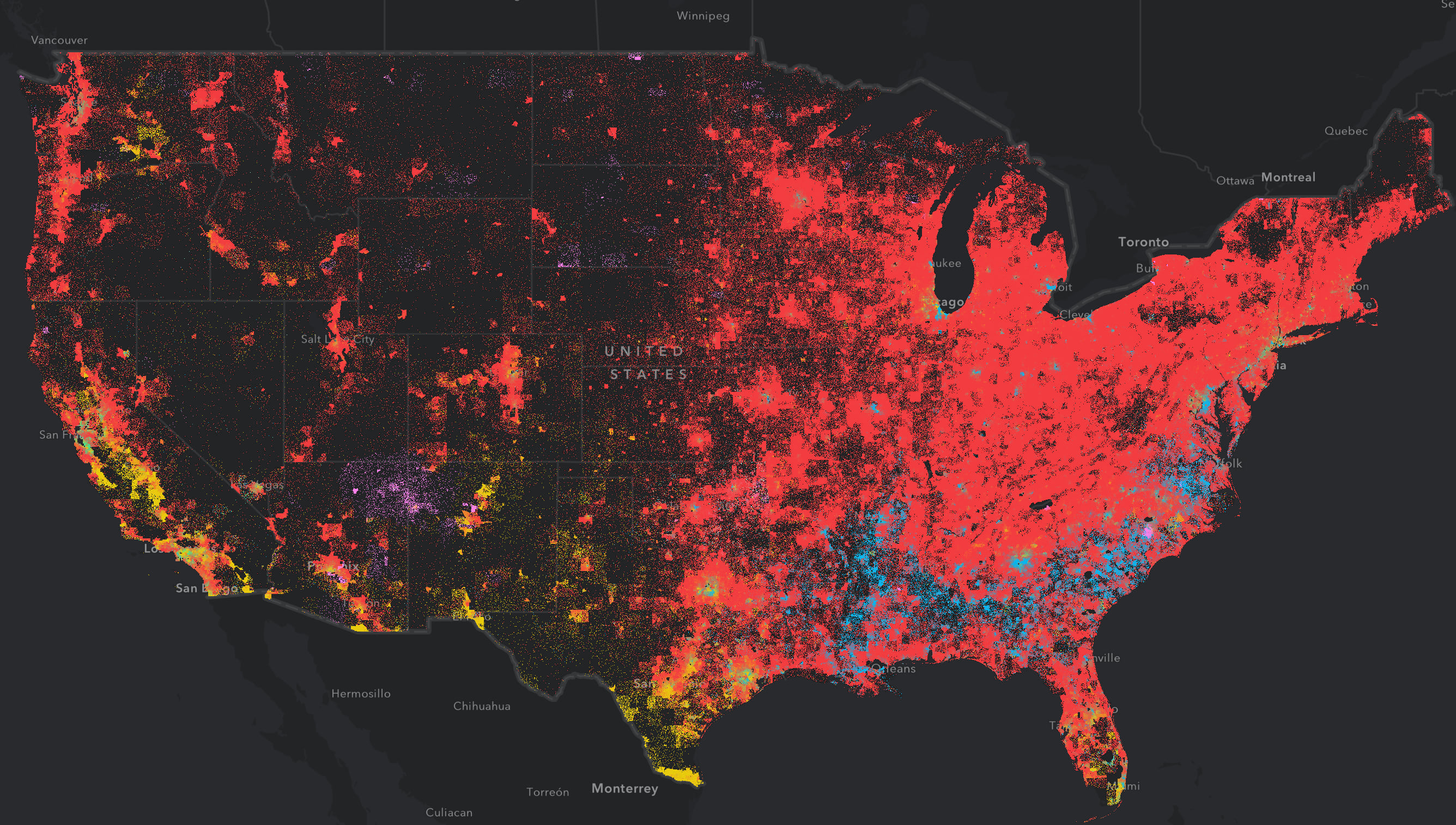 Population density by race in the United States.