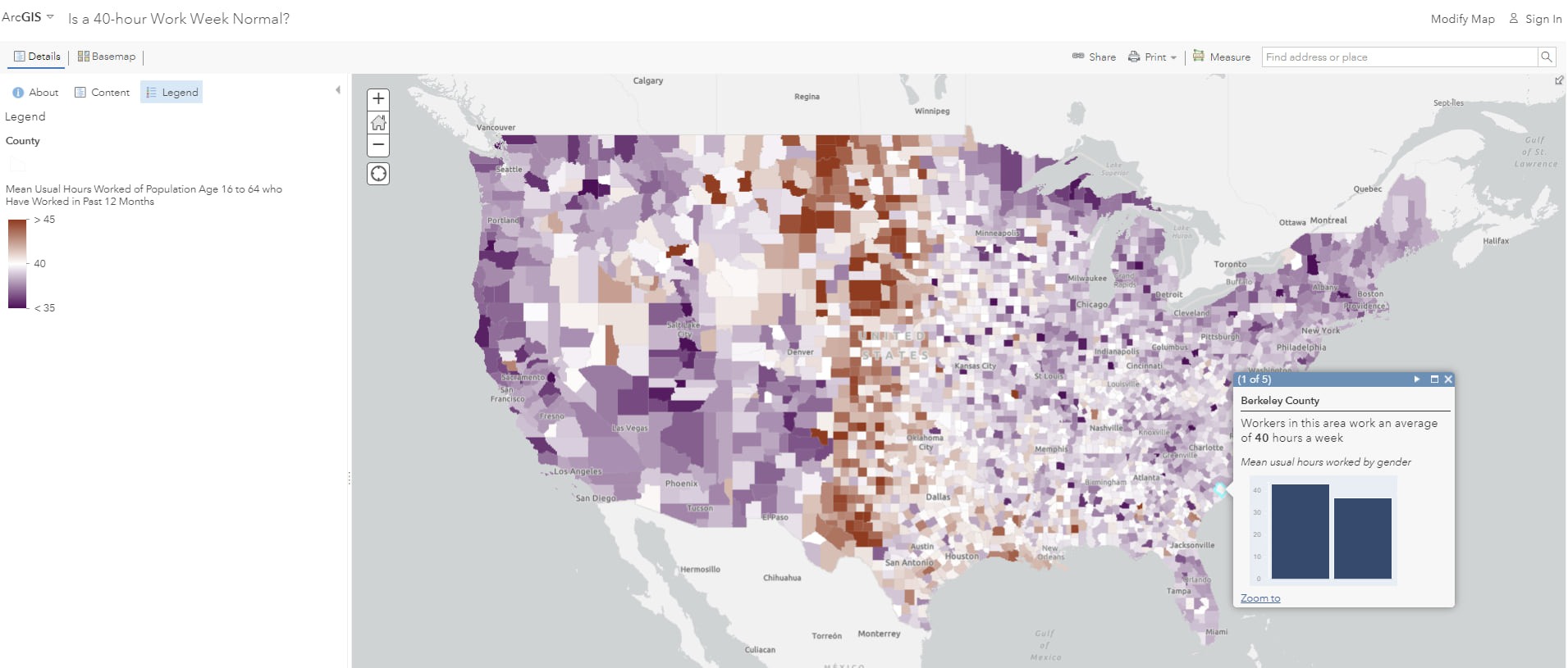 Map of continental US counties using above and below ramp. Midwest counties are more red, other counties are more purple, counties close to 40 hours are white.