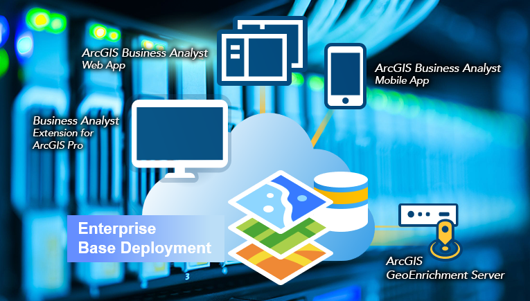 ArcGIS Business Analyst Enterprise basic deployment icon with server background.