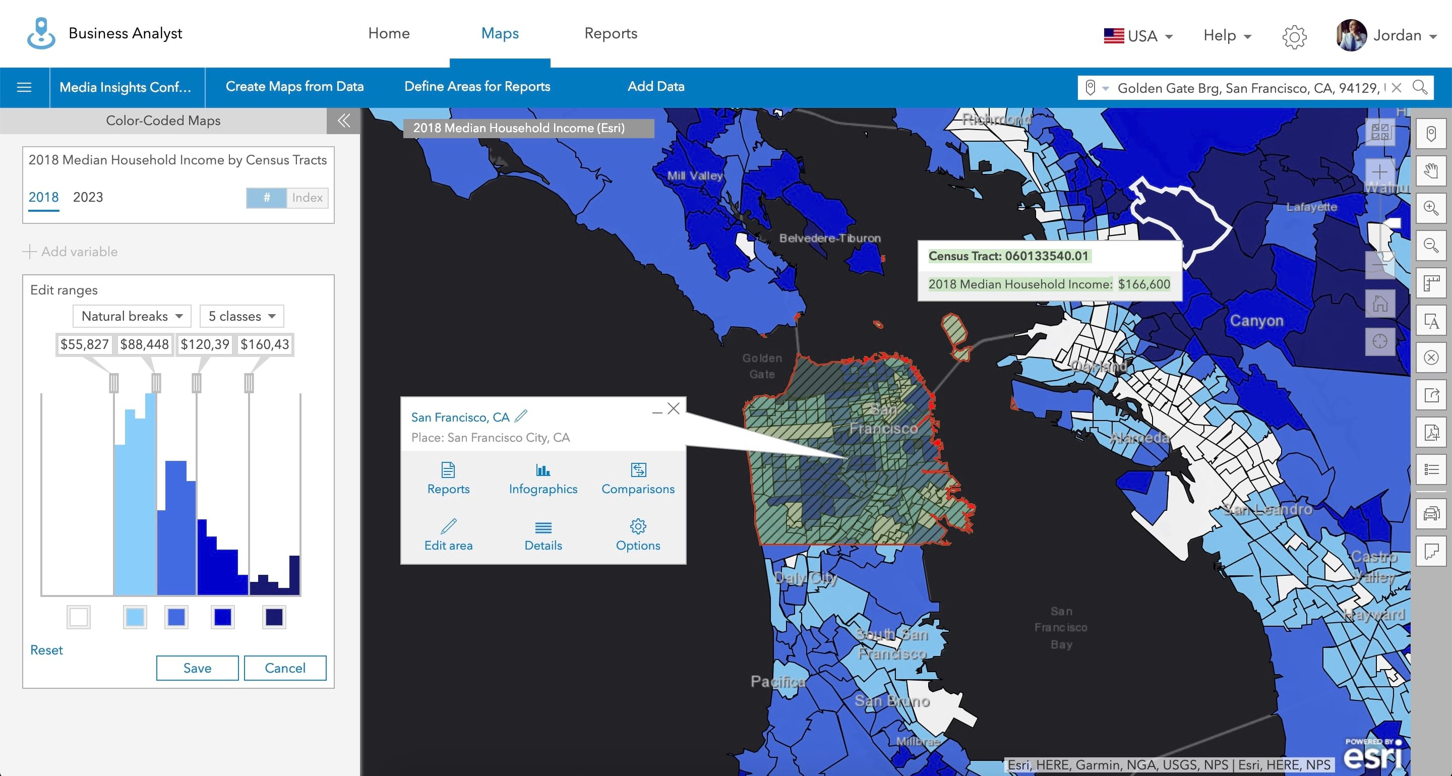 Color-coded map of the San Francisco area using the Business Analyst Web App.