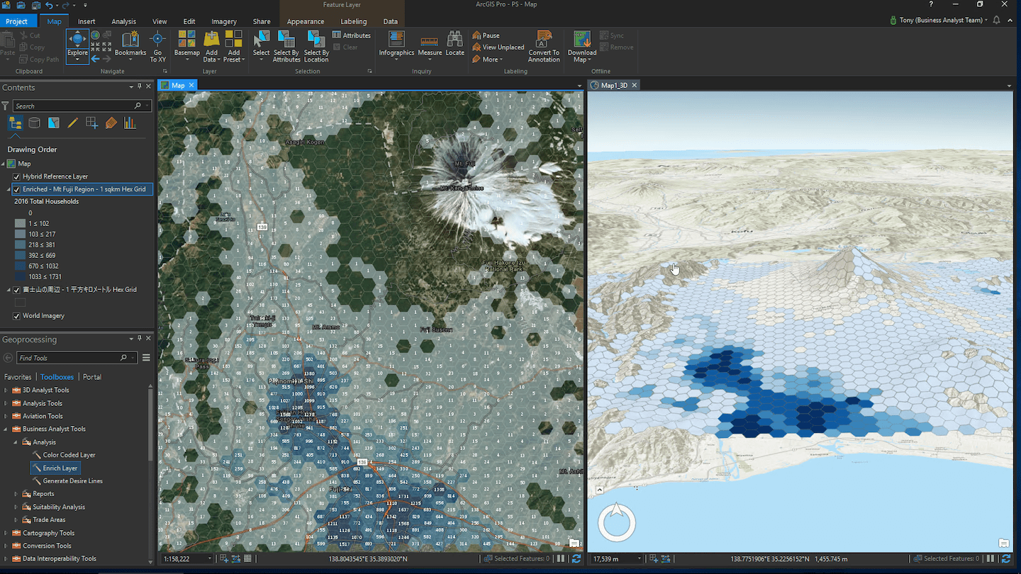 3D analysis of the Mount Fuji area in Japan using the Business Analyst Extension for ArcGIS Pro