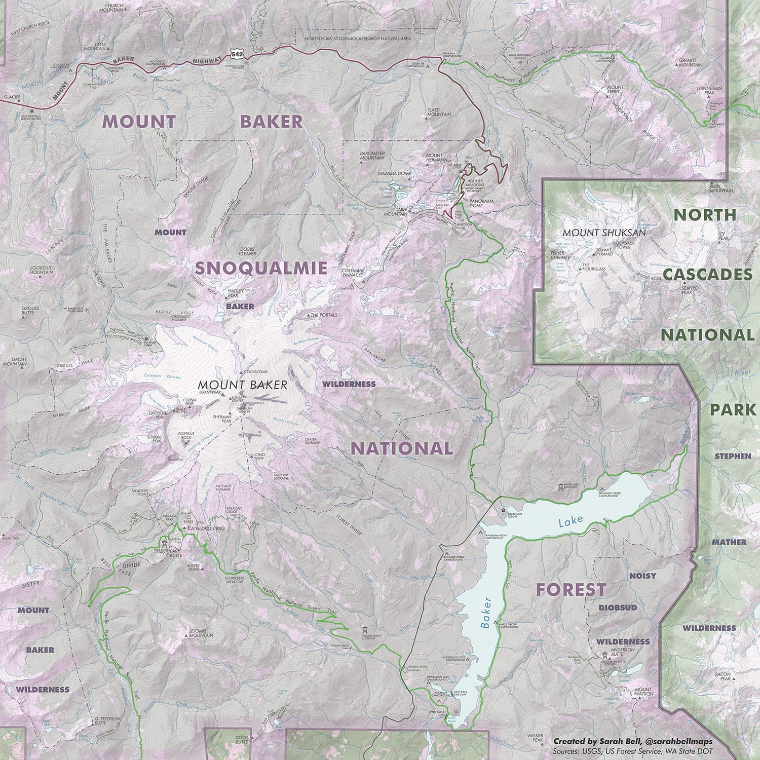 Mount Baker Wilderness map created with ArcGIS Maps for Adobe Creative Cloud.