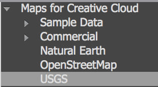 USGS Data Group in Maps for Creative Cloud