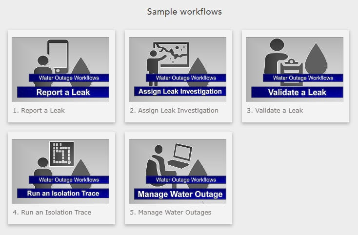 StoryMap gallery of thumbnails created for each Water Outage workflow.
