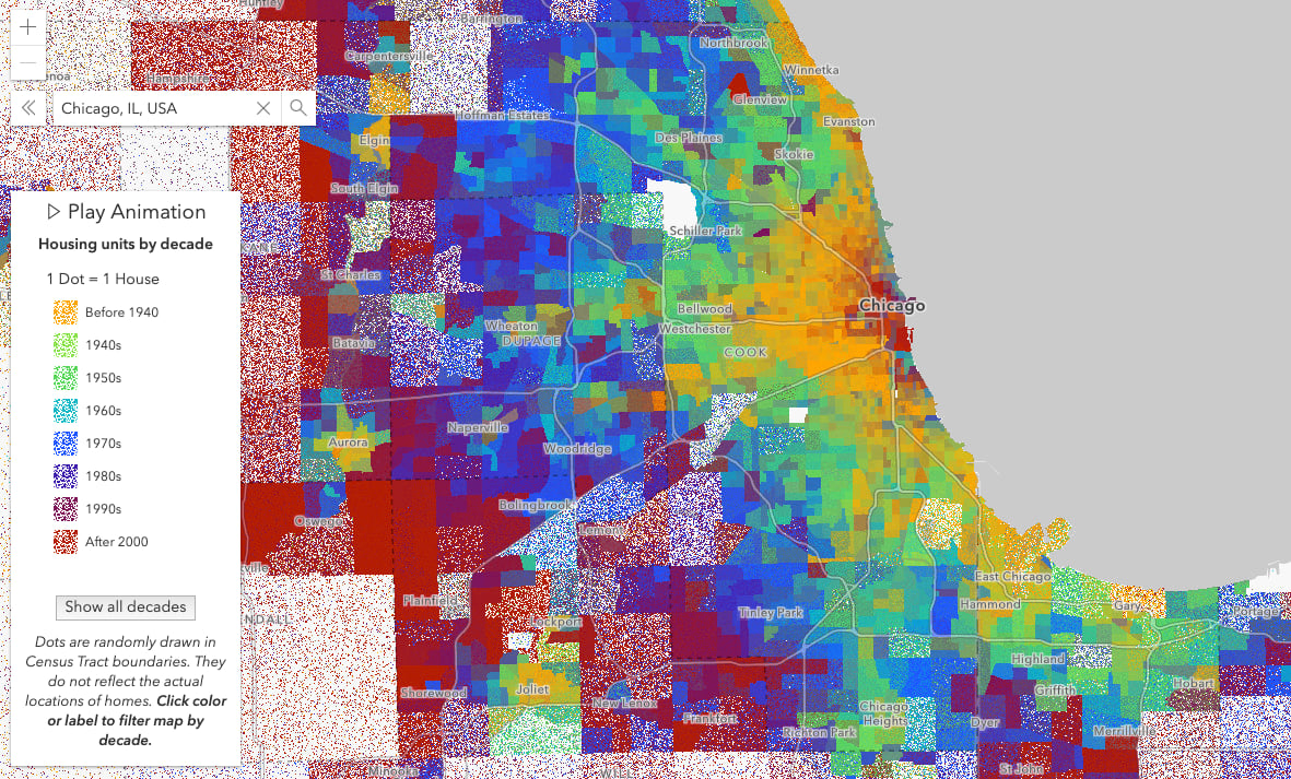 Housing construction by decade in Chicago. One dot represents one house.