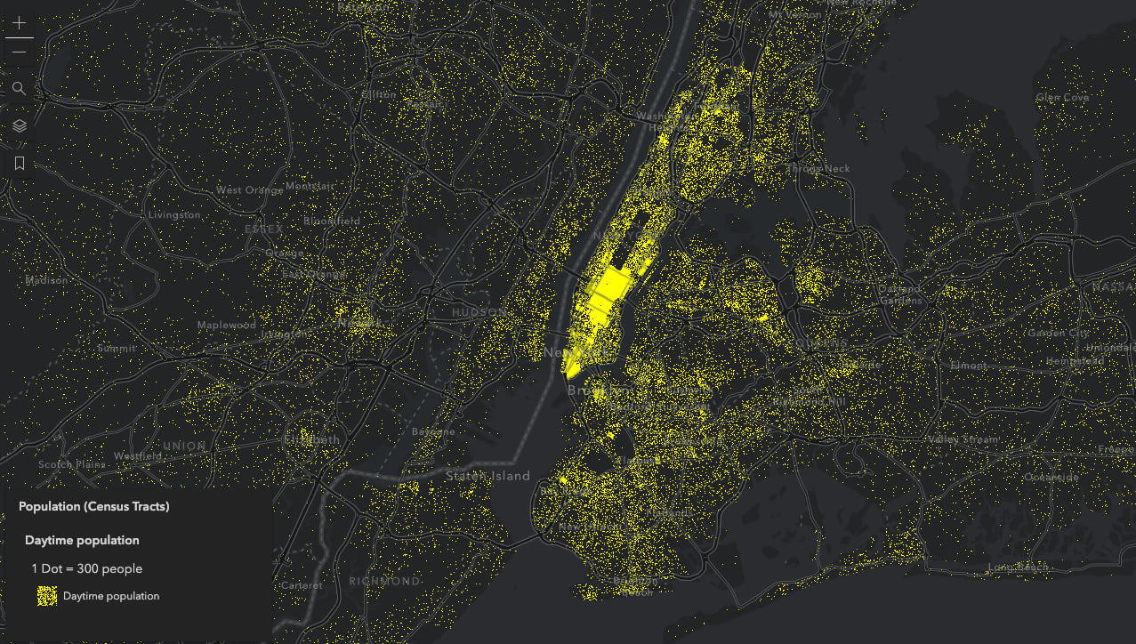 Population density of New York City during the daytime hours of the day. One dot represents 300 people.