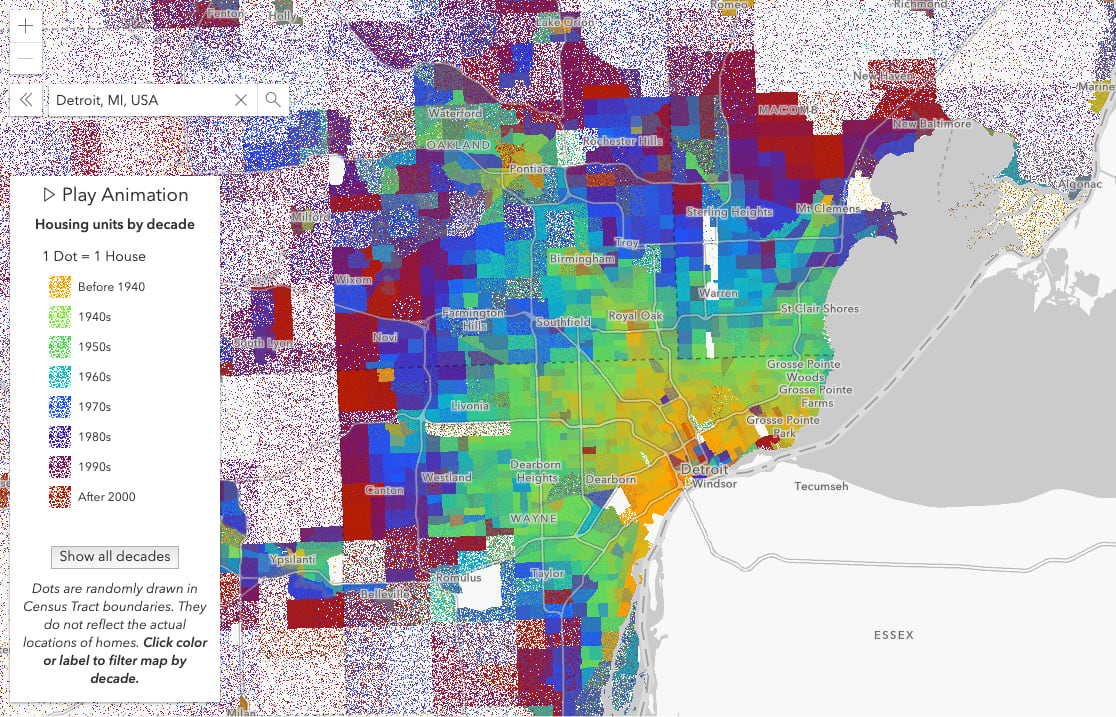 Housing construction by decade in Detroit. One dot represents one house.
