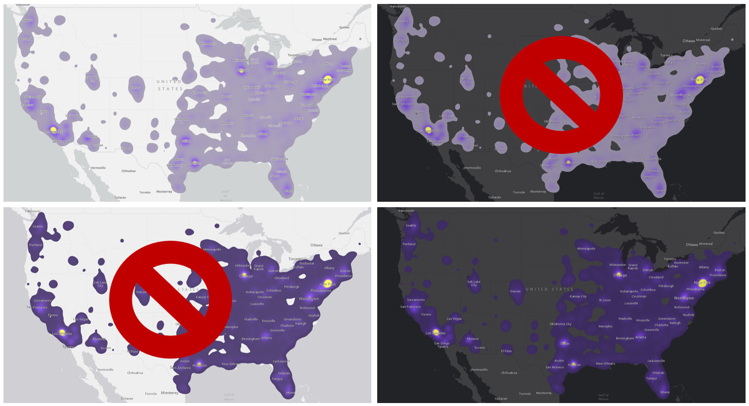 4 maps: 2 with light purple-to-yellow color ramp, 1 on light basemap, 1 on dark (with red x superimposed); 2 with dark purple-to-yellow color ramp, 1 on light basemap (with red x superimposed), 1 on dark.