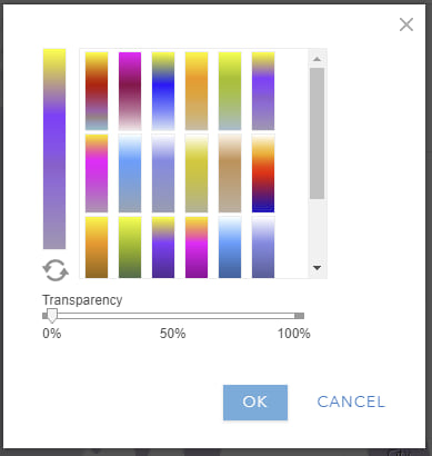 Color ramp selector with heat map ramps. Light purple to yellow selected.
