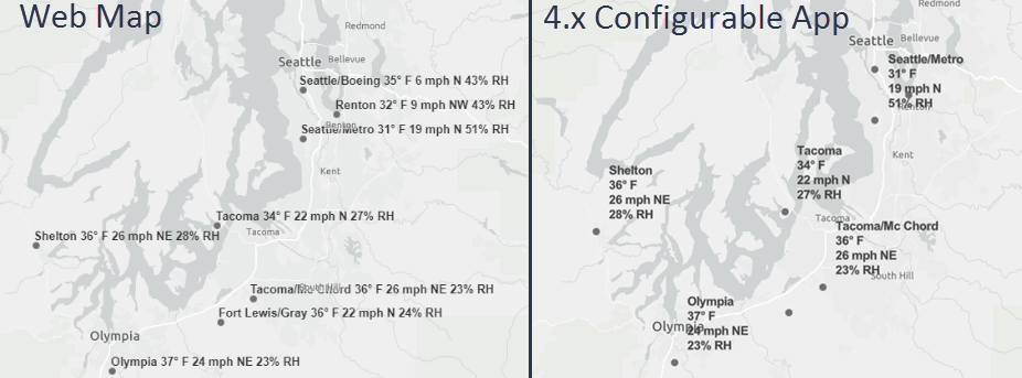 Comparison of labels in the web map versus a 4.x configurable app