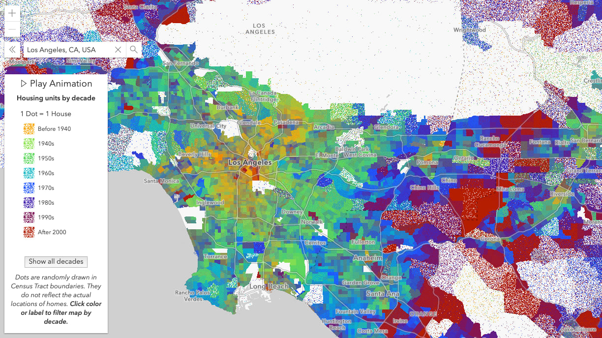Housing construction by decade in Los Angeles and surrounding cities. One dot represents one house.