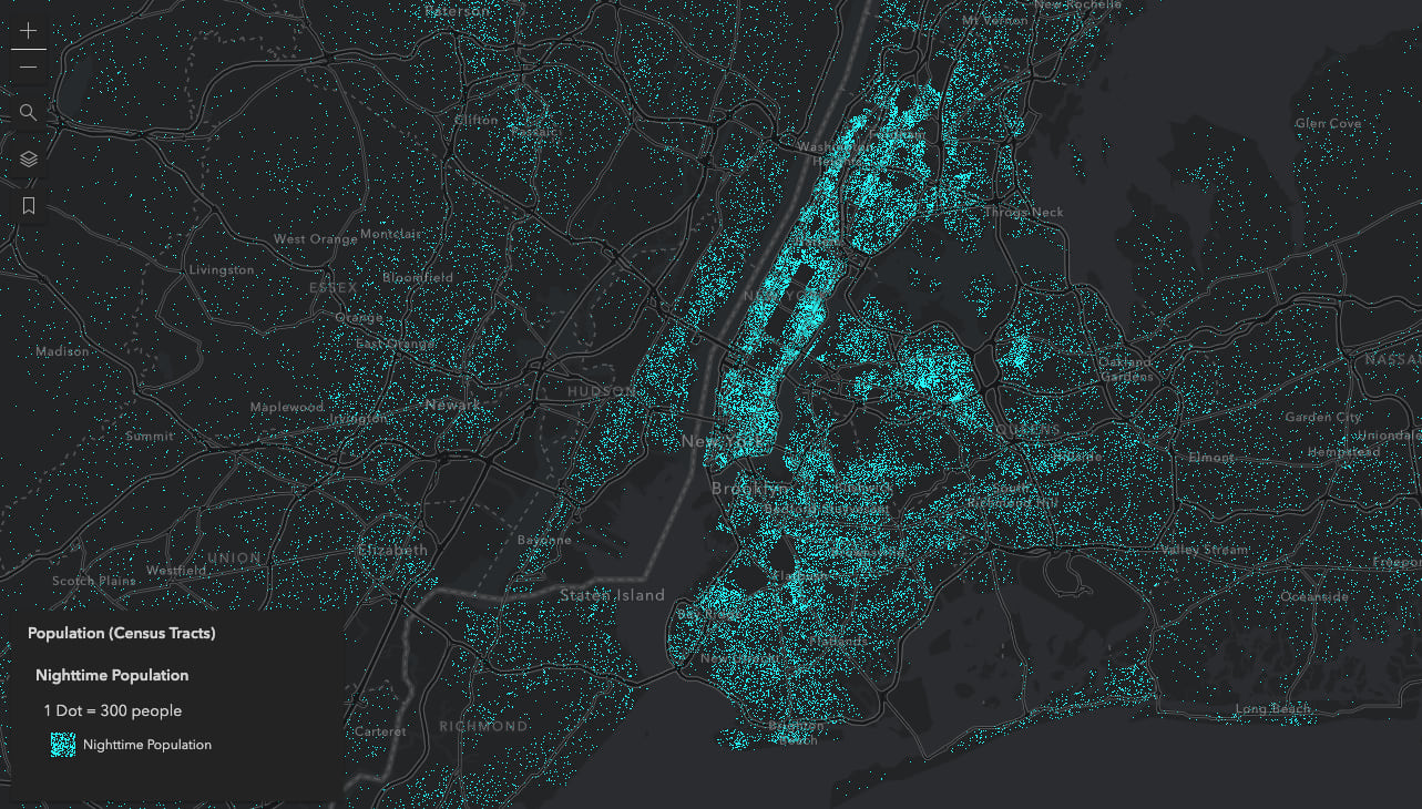 Population density of New York City at night. One dot represents 300 people.