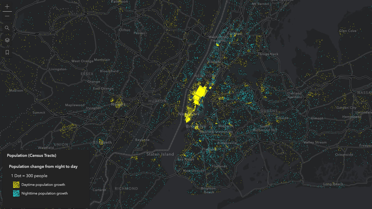 Population change in New York City from nighttime to the daytime hours of the day. One dot represents 300 people.