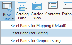 Reset panes for editing