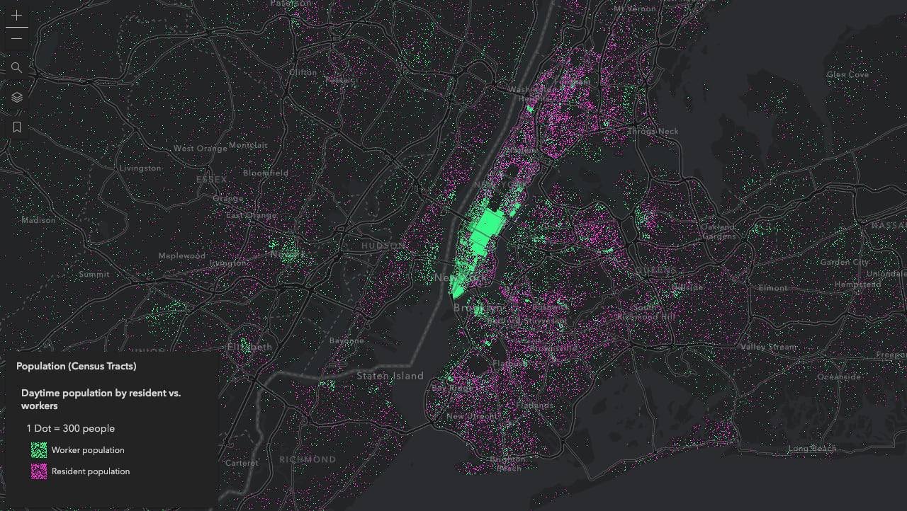 Daytime population in New York City. Each purple dot represents 300 residents. Each green dot represents 300 workers.