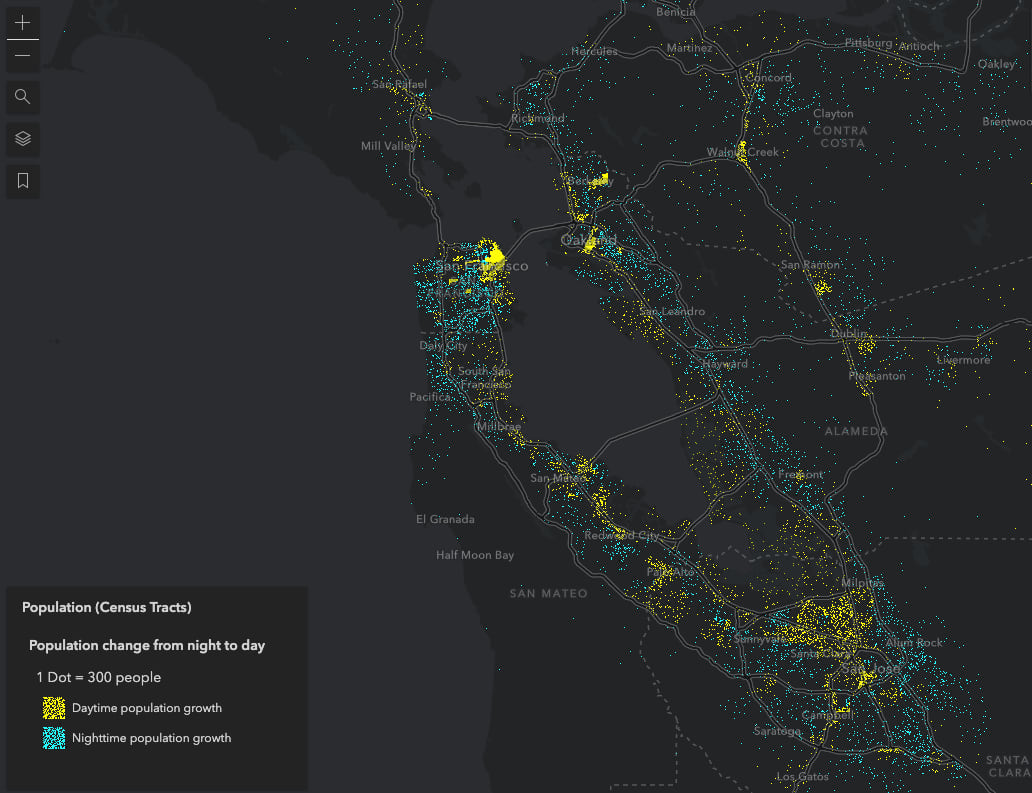 Population change in the San Francisco Bay area. One dot represents 300 people.
