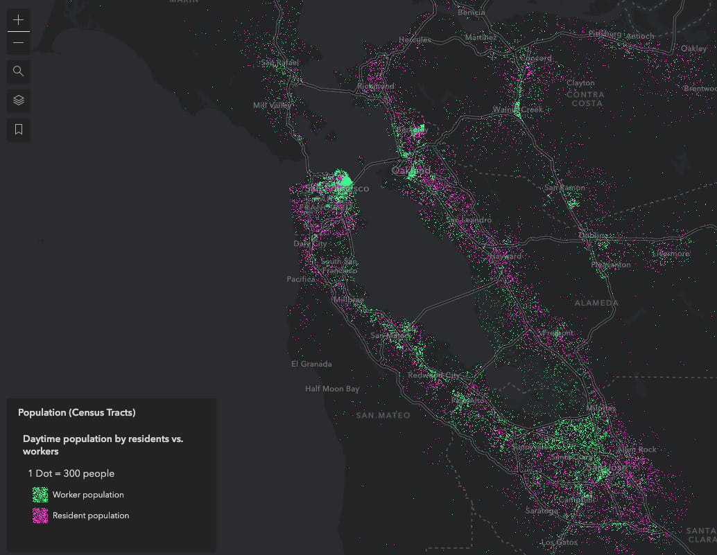 Worker and resident daytime population in the San Francisco Bay area. One dot represents 300 people.