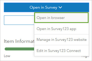Selecting Open in browser from Open in Survey.
