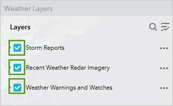 Weather Layers toggled on