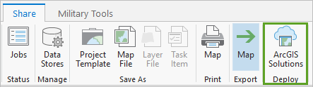 In the Share tab, the ArcGIS Solutions button.