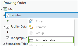 Selecting the attribute table for the facilities layer.