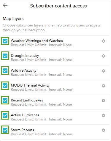 The map layers which are subscribed content.