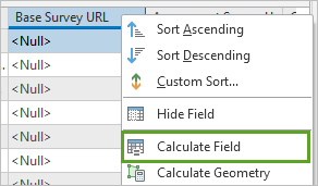 Selecting Calculate Field for Base Survey URL.