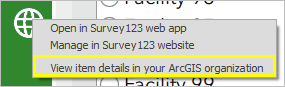 View item details in your ArcGIS Organization is selected.