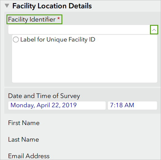The Facility Location Details question with no Facility Identifiers choices.