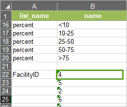 The Facility ID values pasted into the Operational Assessment Survey's name column.