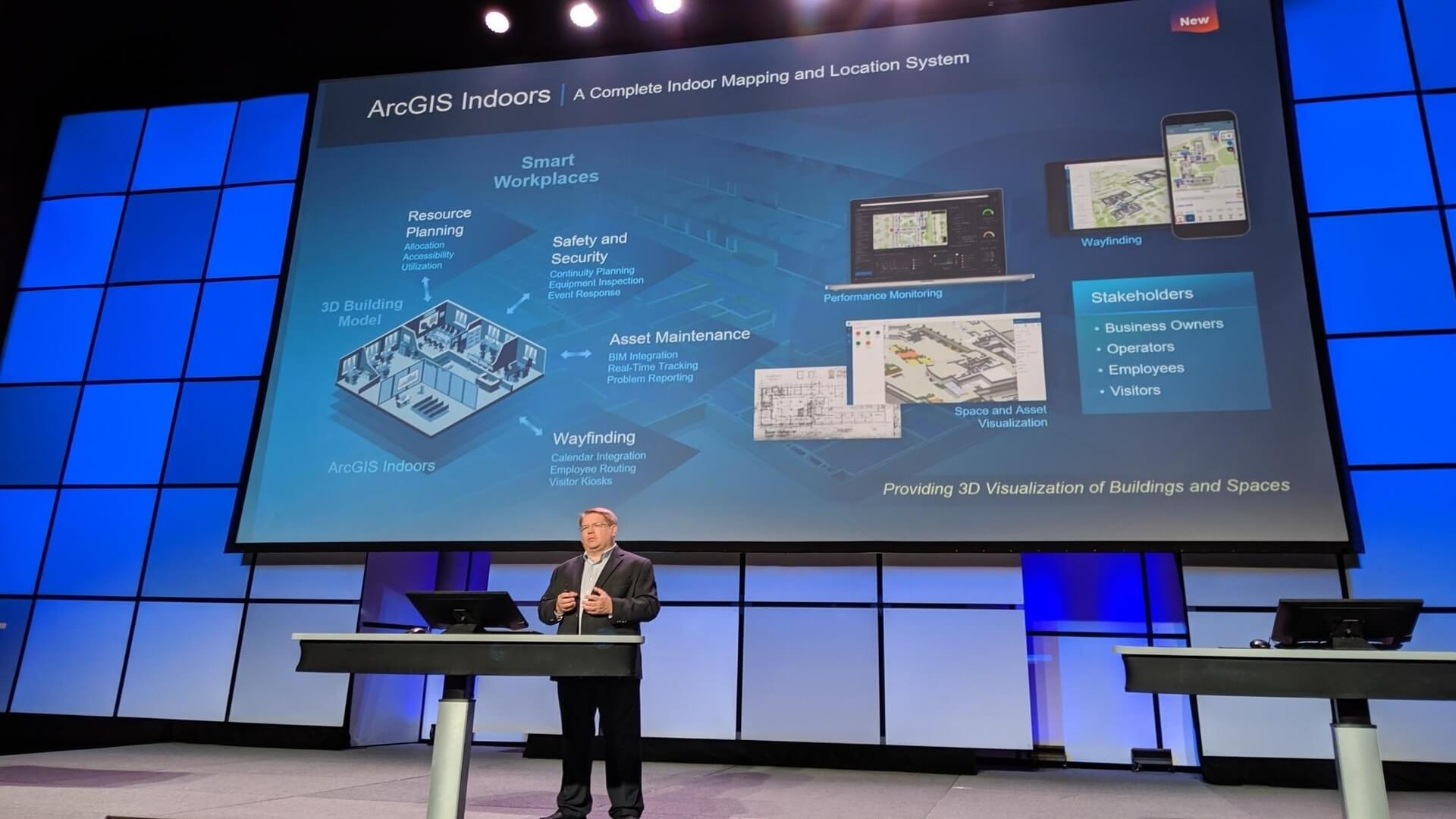 Esri Director of Solutions, Damian Spangrud, highlights ArcGIS Indoors as tool to help create Smart Workplaces.
