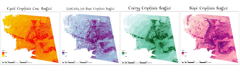 A set of small multiple maps revealing different cost layers for Middle Earth