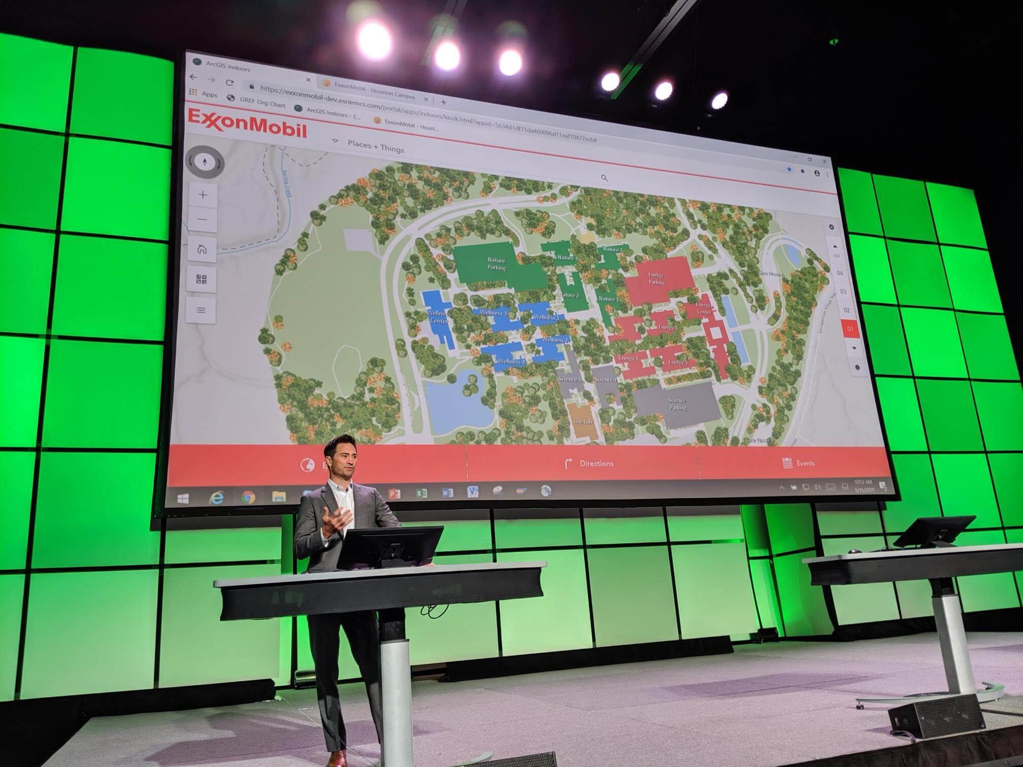 ExxonMobil's smart building expert showing ArcGIS Indoors for Exxon's corporate campus