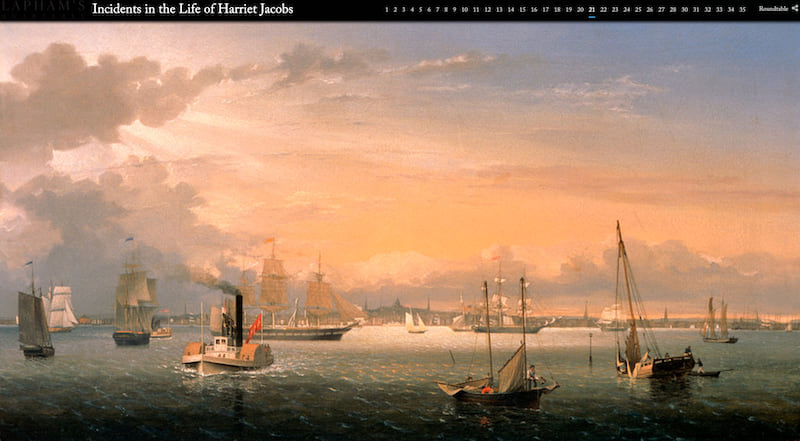 A screenshot showing a painting of Boston Harbor at sunset, filled with ships, that was inserted into the story map at full width