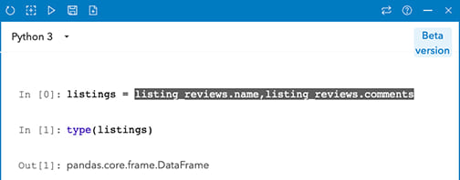 Using an Insights data set in the console
