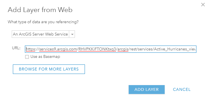 Showing where to put the link when adding a web layer.