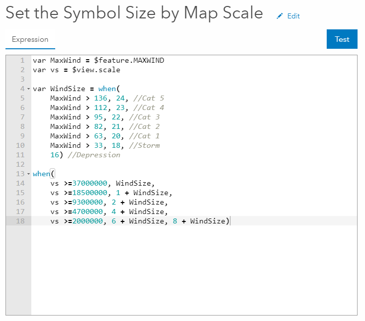 Arcade screen shot of Setting the Symbol Size by Map Scale.
