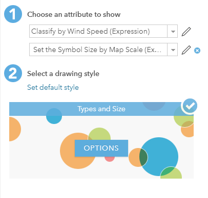 ArcGIS online window for changing the settings of your two Arcade expressions.