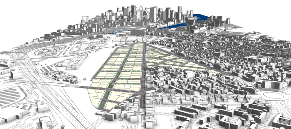 An image of an empty redevelopment area showing land parcels generated in CityEngine
