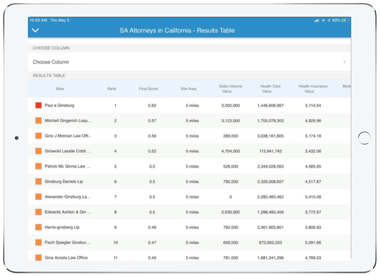 Suitability analysis running on an iPad in the Business Analyst Mobile App