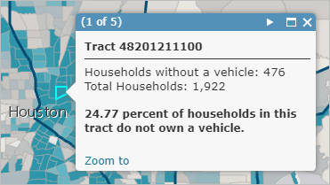 Pop-up showing percentage of households without a vehicle