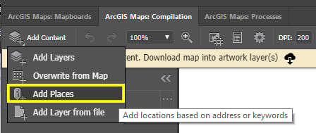 Click 'Add Content' and select 'Add Places'