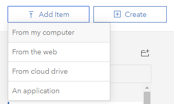 """Add Item"" button selected and dropdown menu is displayed. ""From my computer"" is the option highlighted in the dropdown menu."
