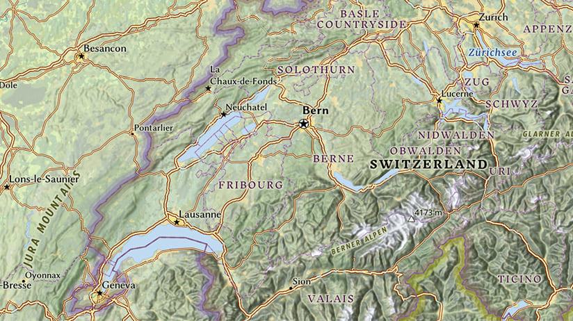 Part of the Esri National Geographic Style map showing Switzerland