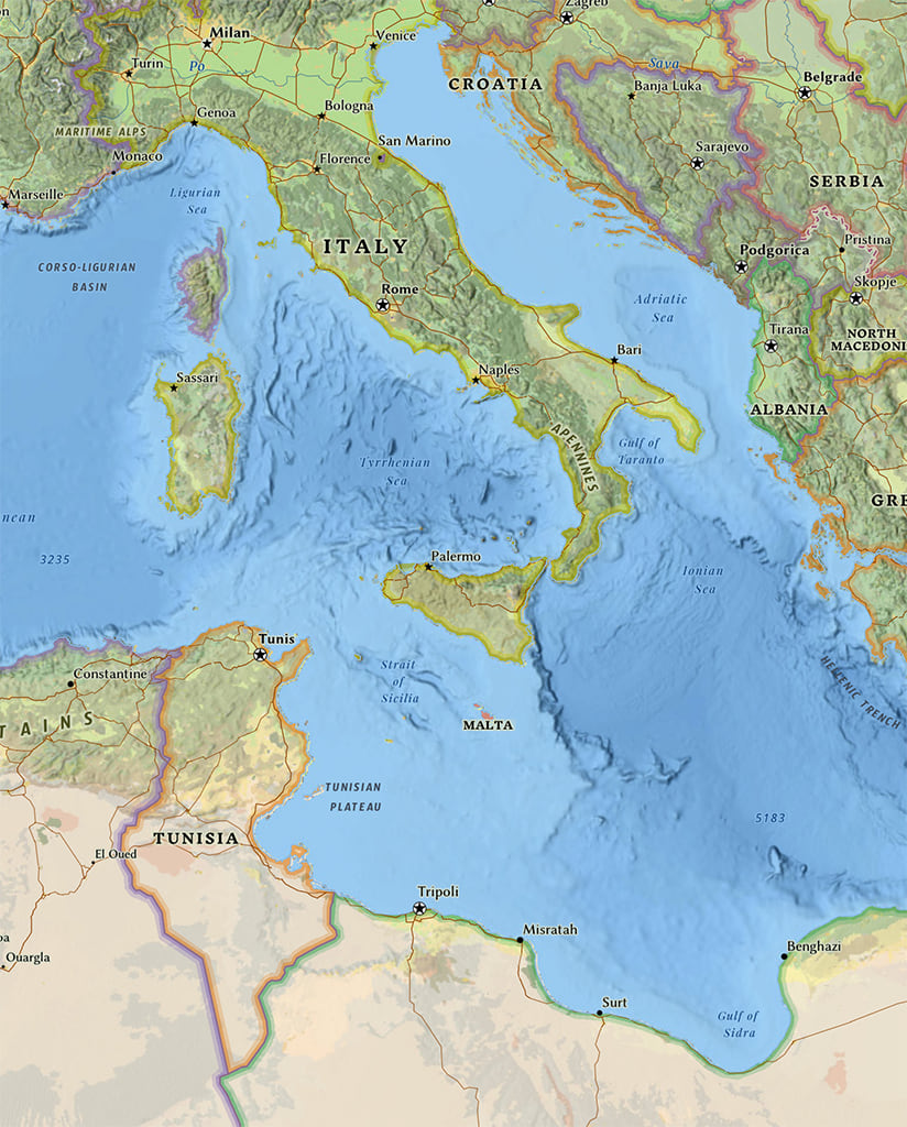 Part of the Esri National Geographic Style map showing the central Mediterranean