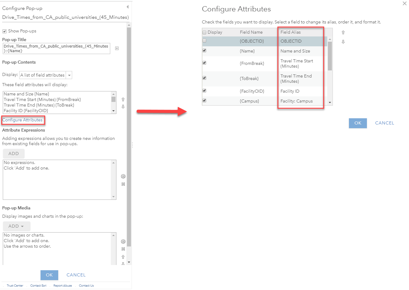 "On left, screenshot of the Pop-Up Configuration menu with ""Configure Attributes"" selected, then red arrow over to right panel which shows the Configure Attributes interface with a red square around the Field Alias column."