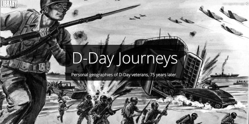 The cover page of the D-Day story map, featuring a black-and-white illustration of soldiers storming the beach.